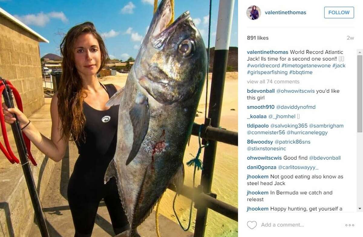 Valentine Thomas, a world record holding spearfisher, pushes for sea preservation clad in a bikini, or a wet suit. Despite some negative feedback on social media, Thomas said she will use her social media platform with a follower base of more than 5,000 people to educate her fans and promote sustainable eating habits.