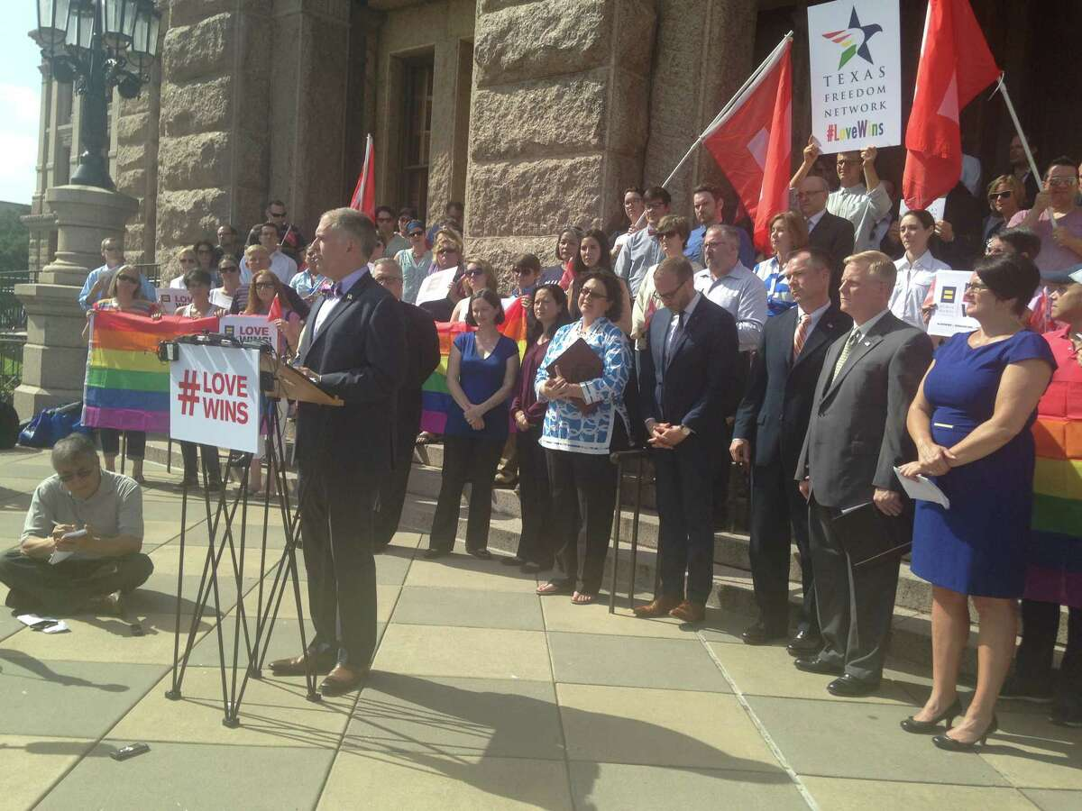 Jim Obergefell, the main plaintiff in the U.S. Supreme Court same-sex marriage case, discuss his victory on the steps of the state Capitol in Austin on Monday, June 29, 2015.