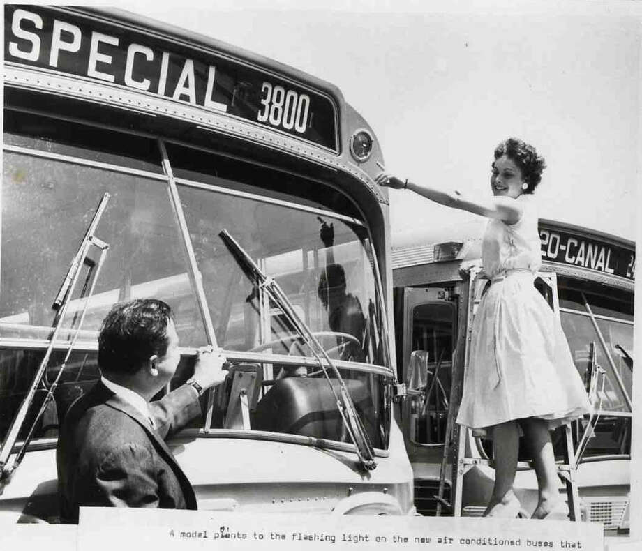 """Houston's Rapid Transit Company, a precursor to METRO, received the 100 air-conditioned """"Dreamliner"""" buses, placing them in service on September 10, 1961. (For more photos from Houston's transit history, scroll through the slideshow.) Photo: METRO"""