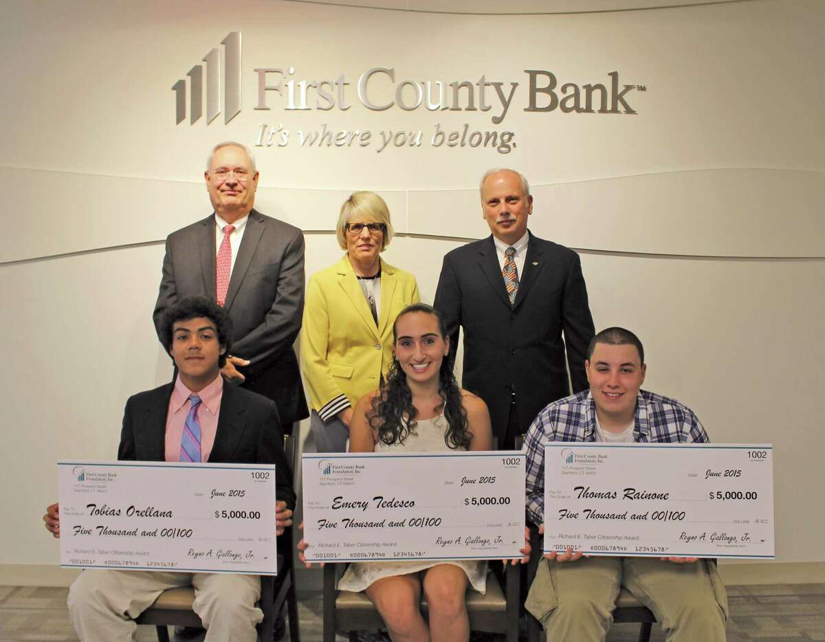 Tobias Orellana of Greenwich High School, Emery Tedesco of Trinity Catholic High School in Stamford, and Thomas Rainone of Brien McMahon High School in Norwalk all recieved First County Bank's Richard E. Taber Citizenship Award.