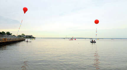 The 9th Annual Swim Across America Greenwich-Stamford takes place in the Sound along the border of Greenwich and Stamford at Cummings Point Road in Stamford, Conn., June 27, 2015. The funds raised by the event go to cancer gene therapy research.