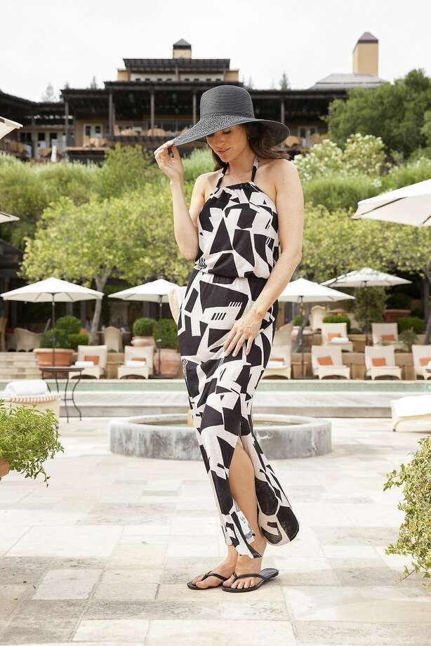 Vacay is a new resort capsule collection line made in San Francisco. Pictured is the Max dress from the Fiji collection, at Auberge du Soleil in Napa. Photo: Bill Reitzel