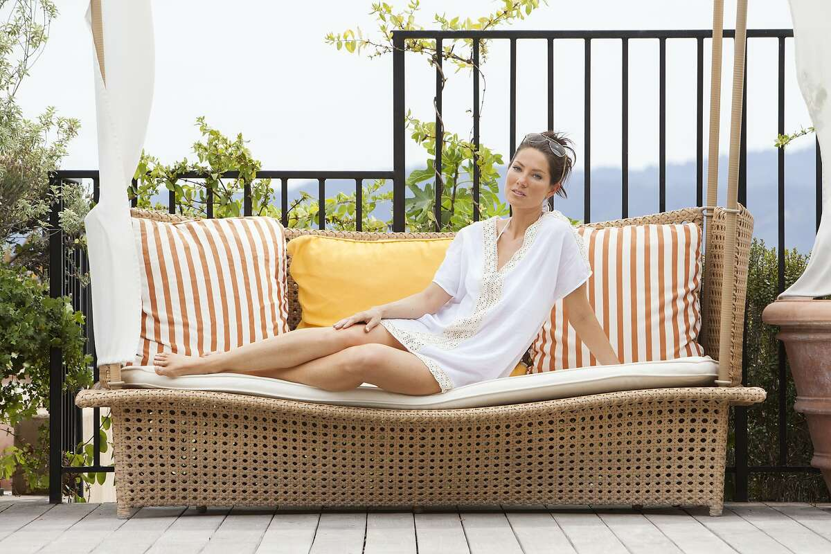 Vacay is a new resort capsule collection line made in San Francisco. Pictured is the crochet trim tunic from the Fiji collection, at Auberge du Soleil in Napa.