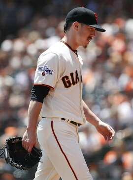 San Francisco Giants pitcher Tim Lincecum walks to the dugout during the first inning of a baseball game, Saturday, June 27, 2015, in San Francisco. (AP Photo/George Nikitin)