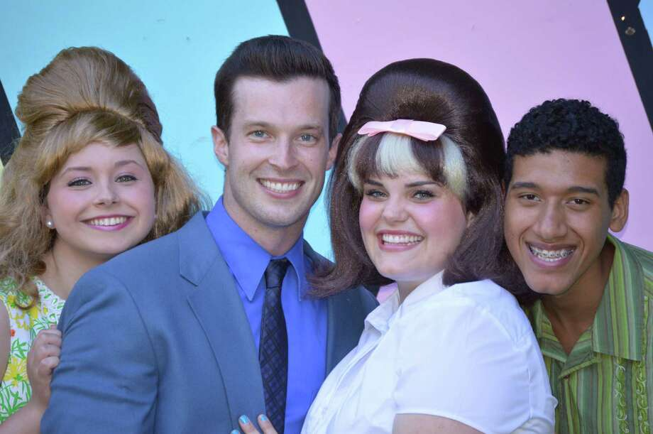"""Hairspray"" opens at Danbury's Musicals at Richter. Cast includes Jessica Schwartz, of Brookfield, left, as Amber; Connor Spain, of Bethel, as Link; Katie Cummings, of Newtown, as Tracy; and Ismael Santana, of Danbury, as Seaweed. Photo: Thom Keough /Contributed Photo"