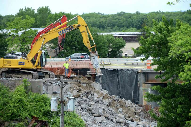 The northbound bridge at Exit 4 of the Northway is demolished Monday, June 29, 2015, on Albany Shake