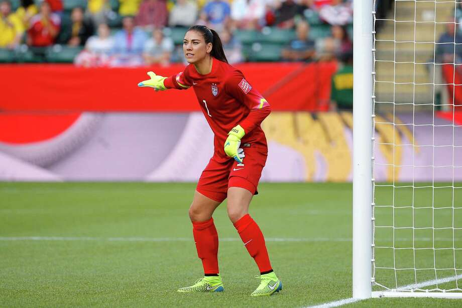 Goalkeeper Hope Solo of the United States looks on in the second half against Colombia in the FIFA Women's World Cup 2015 Round of 16 match at Commonwealth Stadium on June 22, 2015 in Edmonton, Canada. Photo: Kevin C. Cox /Getty Images / 2015 Getty Images