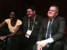 Jacqueline Woodson, Scott Bonner and Daniel Handler at ALA party.