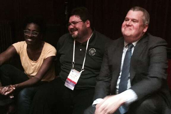 Jacqueline Woodson, Scott Bonner and Daniel Handler at ALA party.