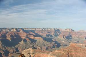 Visitors get a good view from the south rim of the Grand Canyon.