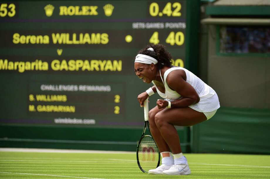 After falling behind 3-1, Serena Williams got into her match physically and emotionally and went on to a 6-4, 6-1 first-round victory over Russia's Margarita Gasparyan. Photo: LEON NEAL, Staff / AFP