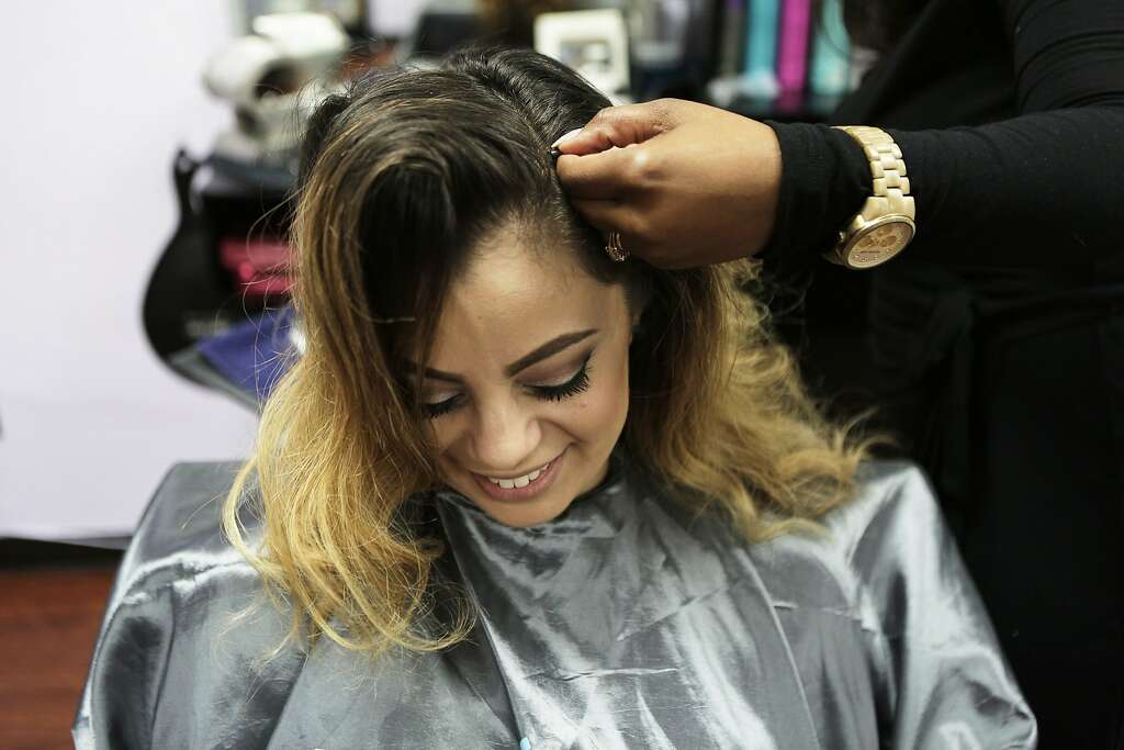 Hair extension startup finally wins over sand hill vcs sfgate destiny monet of destiny monet salon in hayward ca applies hair extensions to makeup pmusecretfo Images