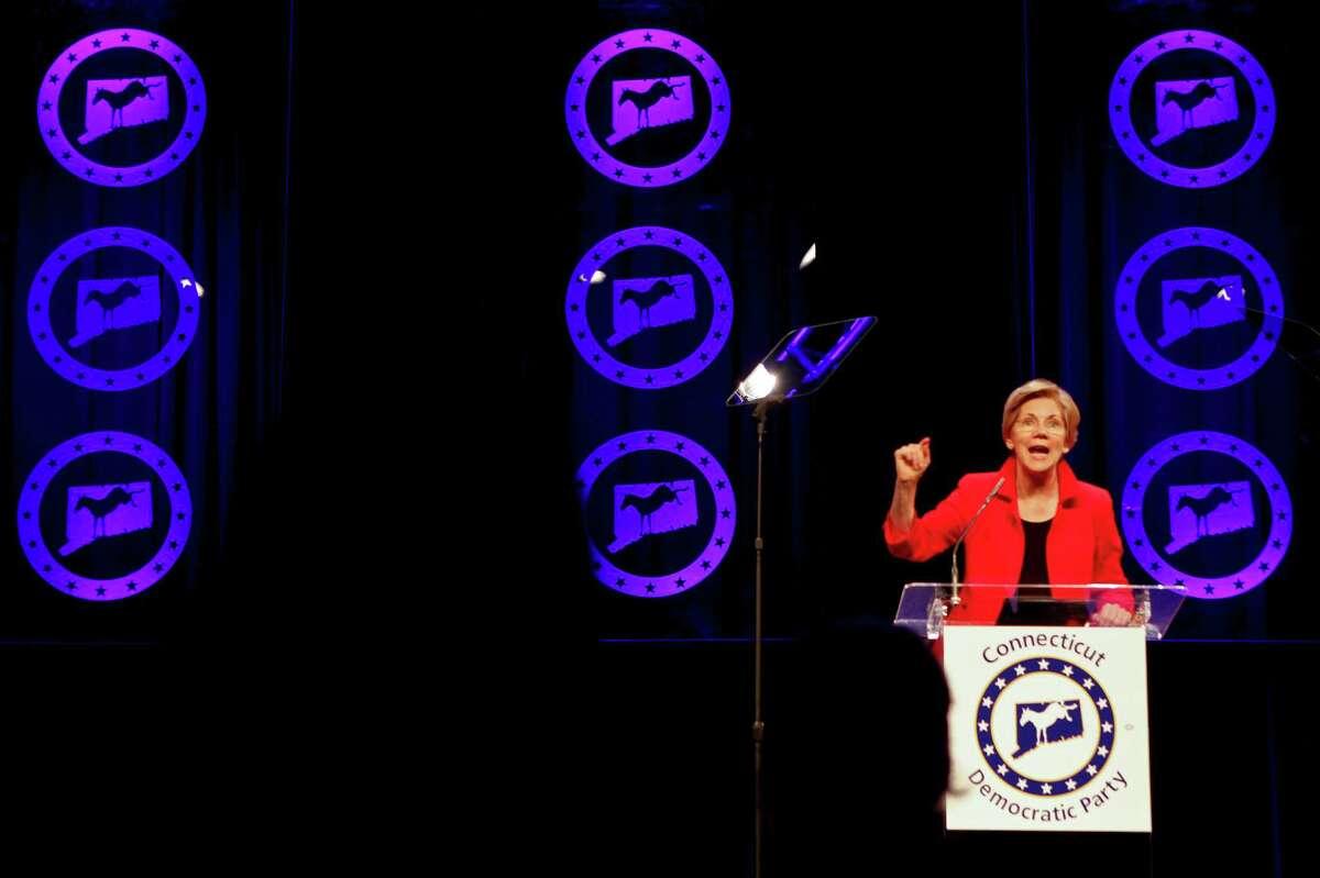 Massachusetts Senator, Elizabeth Warren speaks at the Jefferson Jackson Bailey dinner at the Connecticut Convention Center on Monday, June 29, 2015.