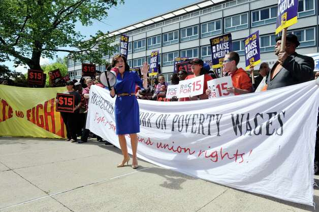 Lieutenant Governor Kathy Hochul addresses fast-food workers and their supporters outside the Department of Labor, prior to a meeting of the Wage Board on on Monday, June 29, 2015, in Albany, N.Y. The board is tasked with considering if it should recommend a higher minimum wage for fast-food workers.    (Paul Buckowski / Times Union) Photo: PAUL BUCKOWSKI / 00032419A