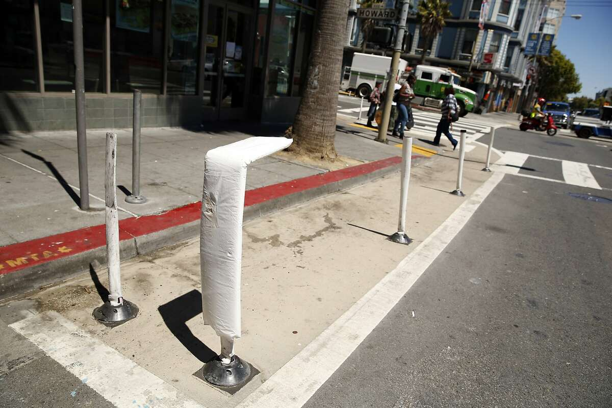 An area along curb was daylighted at 6th and Howard as part of Vision Zero Traffic improvement in San Francisco, Calif., on Monday, June 29, 2015.