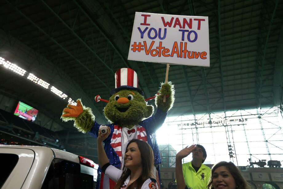 Astros mascot Orbit was in full campaign mode for Jose Altuve before Monday night's game at Minute Maid Park. Photo: Karen Warren, Staff / © 2015 Houston Chronicle