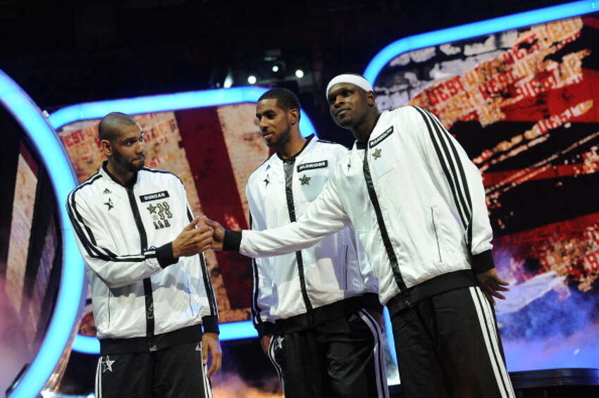 HOUSTON, TX - FEBRUARY 17: Zach Randolph #50, LaMarcus Aldridge #12, and Tim Duncan #21 of the Western Conference All-Stars are introduced during the 2013 NBA All-Star Game presented by Kia on February 17, 2013 at the Toyota Center in Houston, Texas. NOTE TO USER: User expressly acknowledges and agrees that, by downloading and or using this Photograph, user is consenting to the terms and conditions of the Getty Images License Agreement. Mandatory Copyright Notice: Copyright 2013 NBAE (Photo by Noah Graham/NBAE via Getty Images)