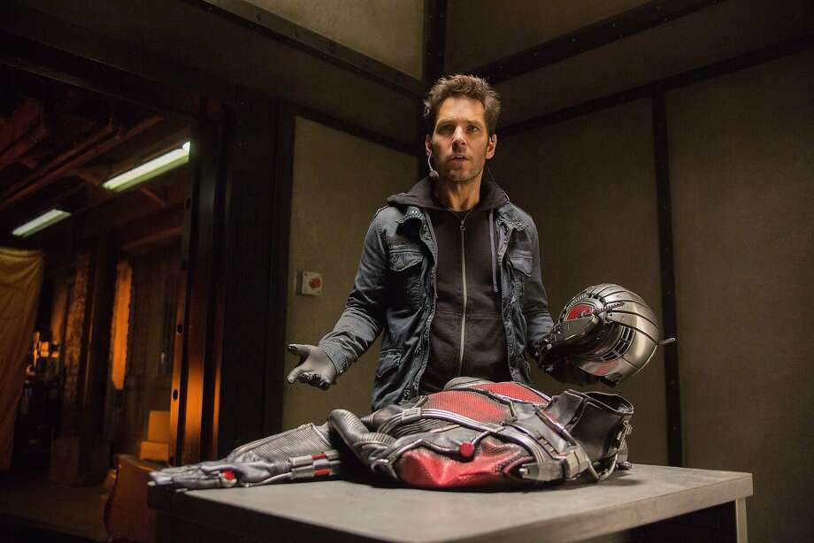 Paul Rudd as the thief Scott Lang on his way to being a superhero, with the Ant-Man suit in a scene from the movie. Photo: Marvel Studios, Disney