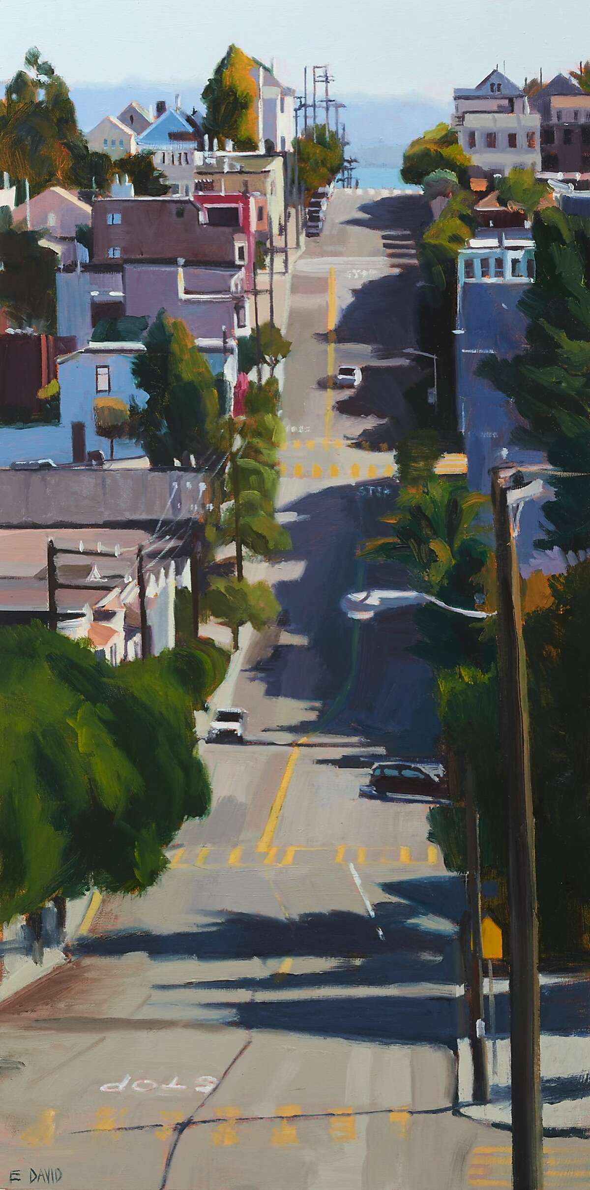 """ED_Ascent HR.jpg Caption: """"Ascent"""" (2015) by Eileen David, oil on panel. 20 x 10 in. Credit: Phocasso / John Wilson White"""