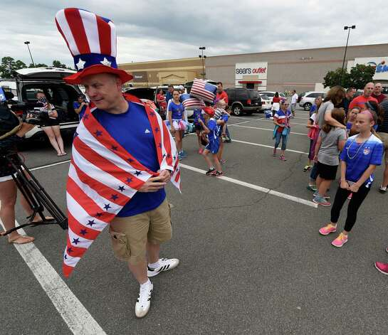 Don Timpanaro wears the colors of his favorite team at the Crossgates Commons Tuesday morning, June 30, 2015, in Albany, N.Y., as he gets ready for a trip to Montreal to watch Team USA Women's soccer compete tonight in the World Cup.  (Skip Dickstein/Times Union) Photo: SKIP DICKSTEIN / 00032412A