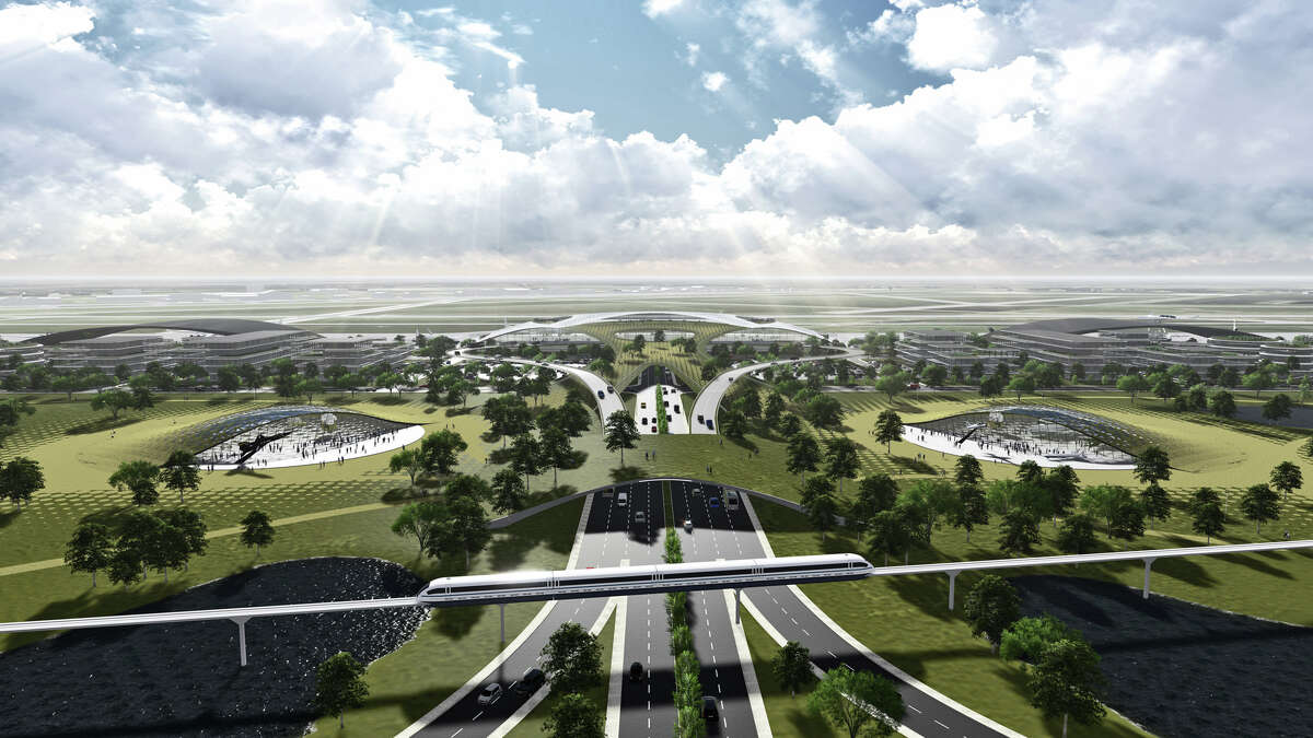 This artist's rendering shows Ellington Field transformed into a futuristic spaceport that dominates the landscape.