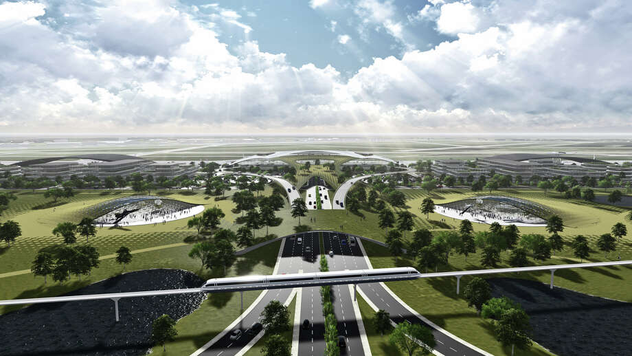 This artist's rendering shows Ellington Field transformed into a futuristic spaceport that dominates the landscape. Photo: Houston Airport System / ONLINE_YES