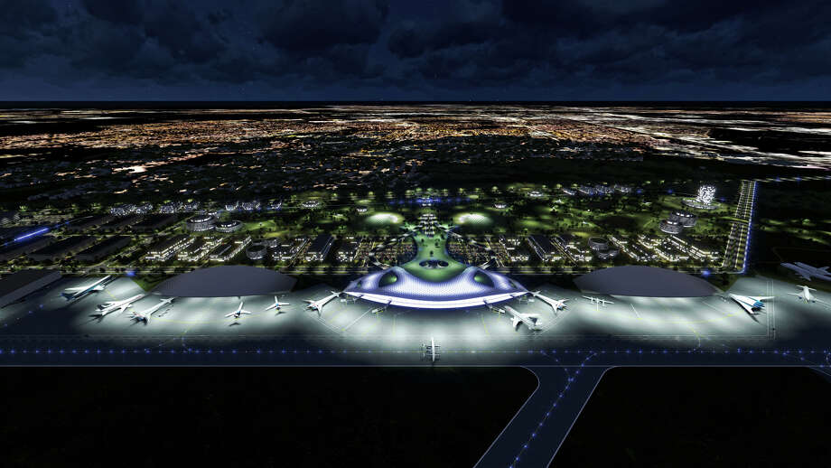 A rendering provided by the Houston Airport System envisions how Ellington Airport might look as a commercial spaceport. Photo: Houston Airport System / ONLINE_YES