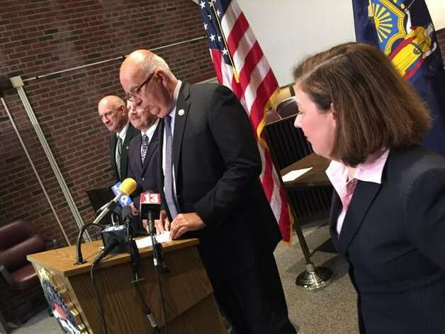 Sheriff Michael Zurlo, second from right, speaks during a news conference on Tuesday, June 30, 2015, at the Saratoga County District Attorney's office in Ballston Spa, N.Y. Joining him are, from left, Undersheriff Kevin Mullahey, State Police Capt. Scott Coburn and District Attorney Karen Heggen. Richard Laport, 51, of Edinburg died after an encounter with officers.  (Cindy Schultz / Times Union)