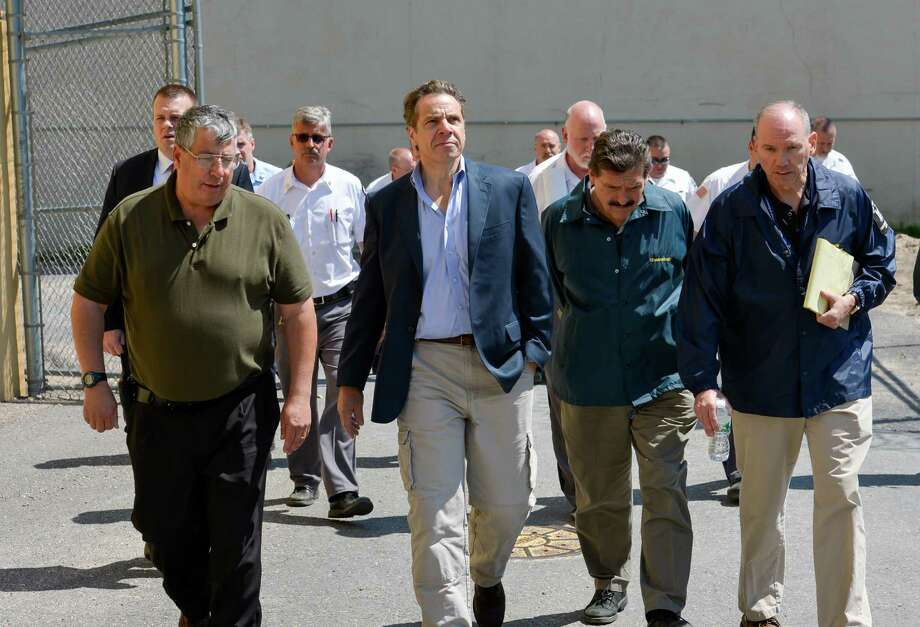 Clinton Correctional Facility with prison Superintendent Steven Racette, left, joins Gov. Andrew Cuomo, center, on a tour of the facility with Acting Department of Corrections and Community Supervision Commissioner Anthony J. Annucci, second from right, and Deputy Commissioner for Facility Operations Joseph Bellnier, right, June 6, 2015, in Dannemora, N.Y. David Sweat and Richard Matt escaped from the upstate maximum-security prison. (Office of Governor Cuomo) Photo: Darren McGee