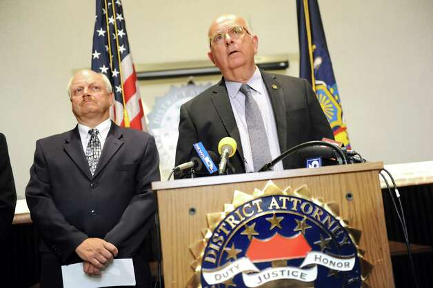 Sheriff Michael Zurlo, joined by State Police Capt. Scott Coburn, speaks during a news conference on Tuesday, June 30, 2015, at the Saratoga County District Attorney's office in Ballston Spa, N.Y. Richard Laport, 51, of Edinburg died after an encounter with officers. (Cindy Schultz / Times Union) Photo: Cindy Schultz / 00032443A