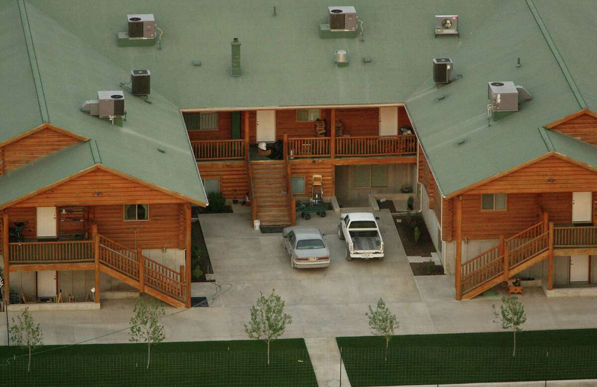 An aerial view of one of the homes on the Yearning for Zion (YFZ) compound owned by the Fundamentalist Church of Jesus Christ of Latter Day Saints April 8, 2008 in Eldorado, Texas.