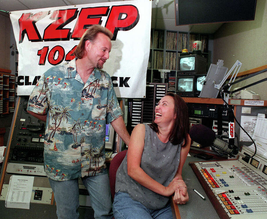KZEP morning DJs Kris Winston (L) and Alyce Ian share some early morning laughs at the studio on in 1999.  Photo: Express-News File Photo / EN