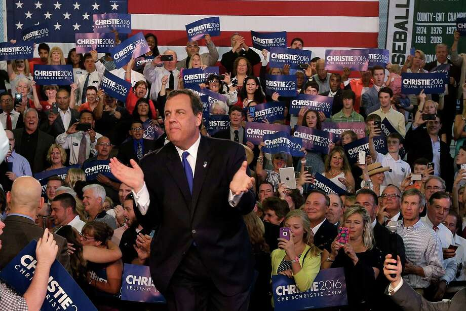 New Jersey Gov. Chris Christie takes the podium before speaking to supporters during an event announcing he will seek the Republican nomination for president, Tuesday, June 30, 2015, at Livingston High School in Livingston, N.J. Photo: Mel Evans, AP / AP