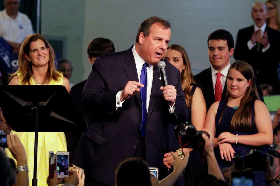 New Jersey Gov. Chris Christie, accompanied by his family, speaks to supporters during an event announcing he will seek the Republican nomination for president, Tuesday, June 30, 2015, at Livingston High School in Livingston, N.J. Photo: Mel Evans, AP / AP