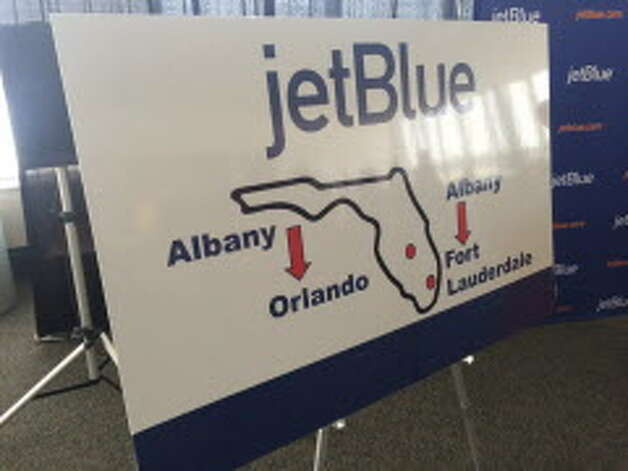 This map tells you all you need to know about JetBlue's first flights from Albany. JetBlue will begin flying out of Albany International Airport on Dec. 10 with direct flights to Fort Lauderdale, Fla., and Orlando, Fla. (Will Waldron / Times Union)