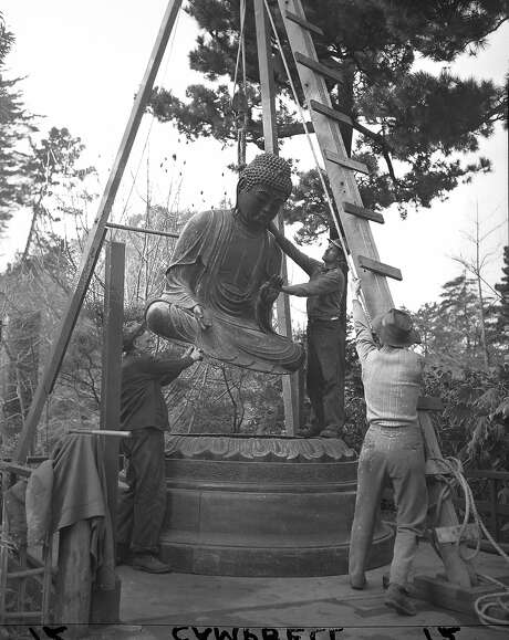 The Buddha at the Japanese Tea Garden in Golden Gate Park being installed in March 1949. It was a gift from the Gump family, and had been in their store for 15 years.