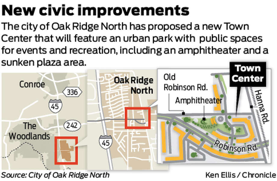 New civic improvements: The city of Oak Ridge North has proposed a new Town Center that will feature an urban park with public spaces for events and recreation, including an amphitheater and a sunken plaza area.