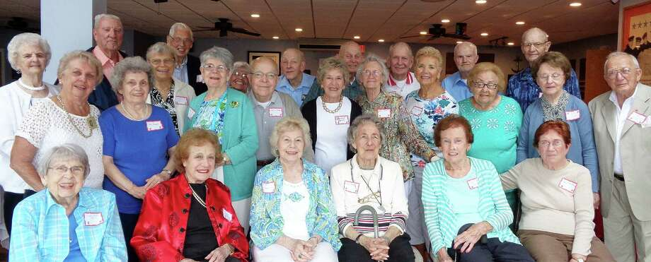 Assembled members of the Roger Ludlowe High School Class of 1945 at their 70th reunion Saturday. Photo: Meg Barone / For Hearst Connecticut Media / Fairfield Citizen