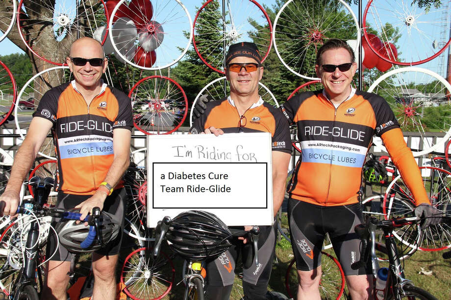From left, Alex Cowley, Dan Arkins and Walt Terbrusch are photographed in Saratoga Springs, N.Y., on June 7, awaiting the start of a 62-mile bike ride to benefit the American Diabetes Association. Arkins is the principal and president of Bethel-based ARtech Packaging, a maker of lubricants for various industries. Photo: Contributed Photo / The News-Times Contributed