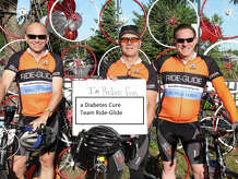 From left, Alex Cowley, Dan Arkins and Walt Terbrusch are photographed in Saratoga Springs, N.Y., on June 7, awaiting the start of a 62-mile bike ride to benefit the American Diabetes Association. Arkins is the principal and president of Bethel-based ARtech Packaging, a maker of lubricants for various industries.