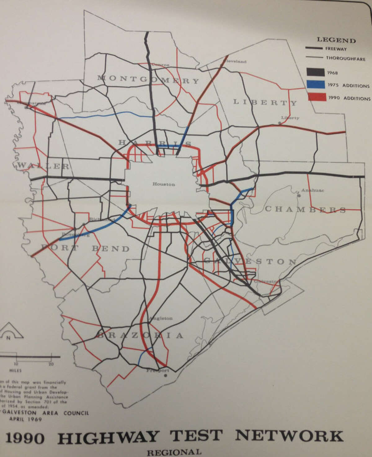 1969 plan for development of Houston freeways by 1990, presented by Houston-Galveston Area Council.