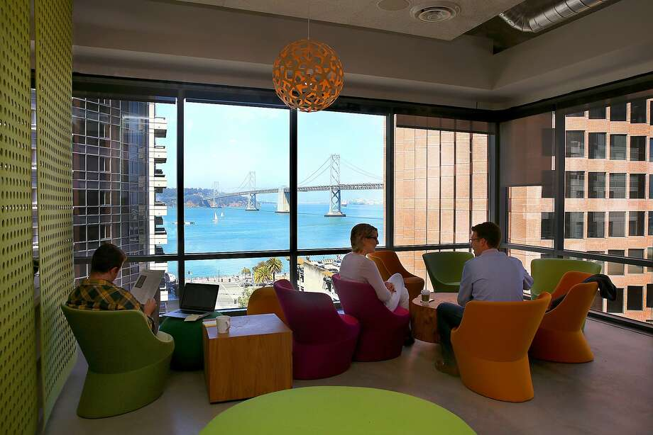 A view through the windows of the New Relic cafeteria in San Francisco, Calif., on Friday, June 26, 2015.  New Relic is a software analytics company that monitors  applications in production to detect potential performance issues for correction. Photo: Liz Hafalia, The Chronicle