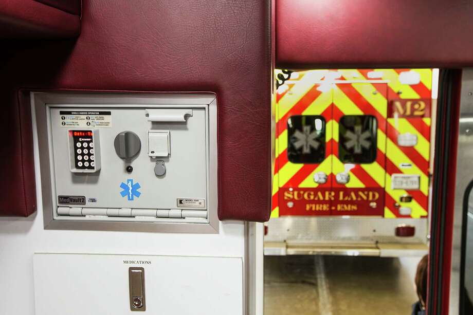 A locked safe for controlled substances is shown in the back of an ambulance at Sugar Land Fire Station 1 on Tuesday, June 30, 2015, in Sugar Land. The city fire department is operating its ambulances without  controlled substances like painkillers and seizure medications. Sugar Land officials are working to getting licensing to such medications, a fire official said. Photo: Brett Coomer, Houston Chronicle / © 2015 Houston Chronicle