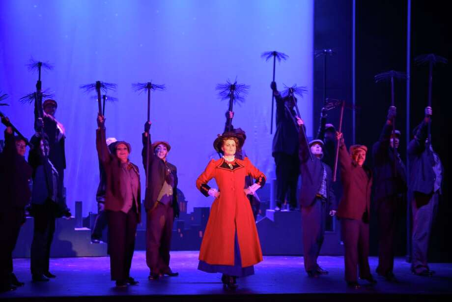 "Mary Poppins (Mia Migliaccio) danced amongst the chimney sweeps in ""Step in Time,"" one of the big production numbers in the Woodlawn Theatre's staging of ""Mary Poppins."" Photo: Courtesy Siggi Ragnar"