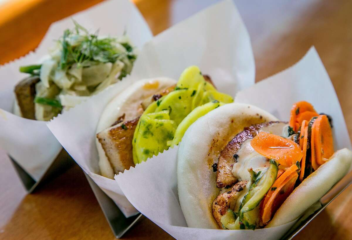 Left to right; Steamed Buns filled with Beef, Pork and Chicken at The Chairman in San Francisco, Calif., are seen on June 30th, 2015.