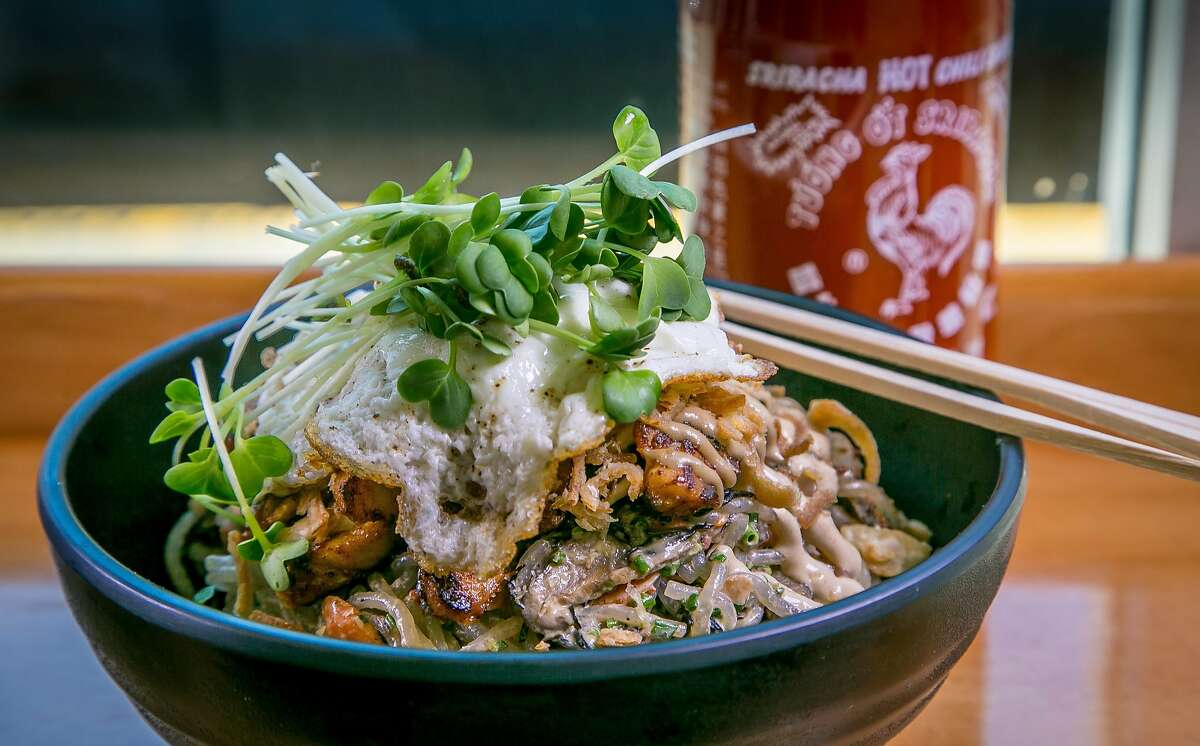 The Noodle Salad with spicy Chicken and a fried egg at The Chairman in San Francisco, Calif., is seen on June 30th, 2015.
