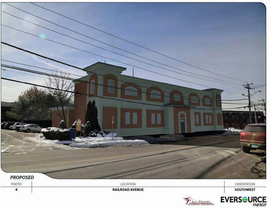 A mockup of the proposed Eversource substation on Railroad Avenue. Photo: Contributed Photo / Greenwich Time Contributed