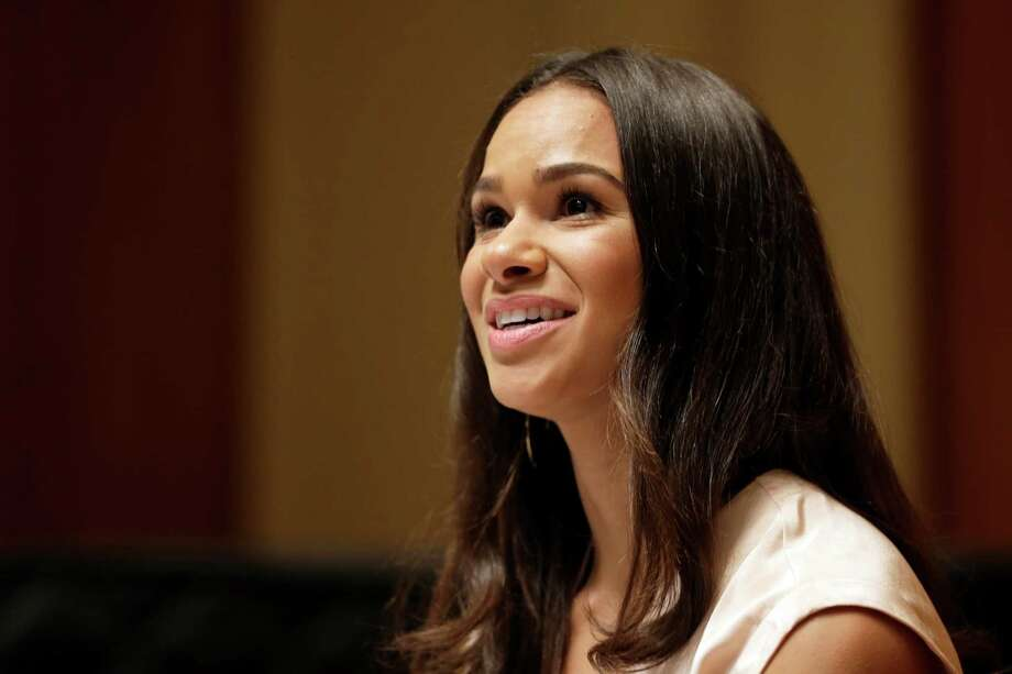 Misty Copeland speaks to reporters during a news conference, Tuesday, June 30, 2015, in New York. The Missouri-born dancer who has become a forceful voice for diversity in ballet and a rare celebrity in that field, was named principal dancer at American Ballet Theatre on Tuesday — the first African-American ballerina to achieve that status in the company's 75-year history.  Photo: Mary Altaffer, Associated Press / AP