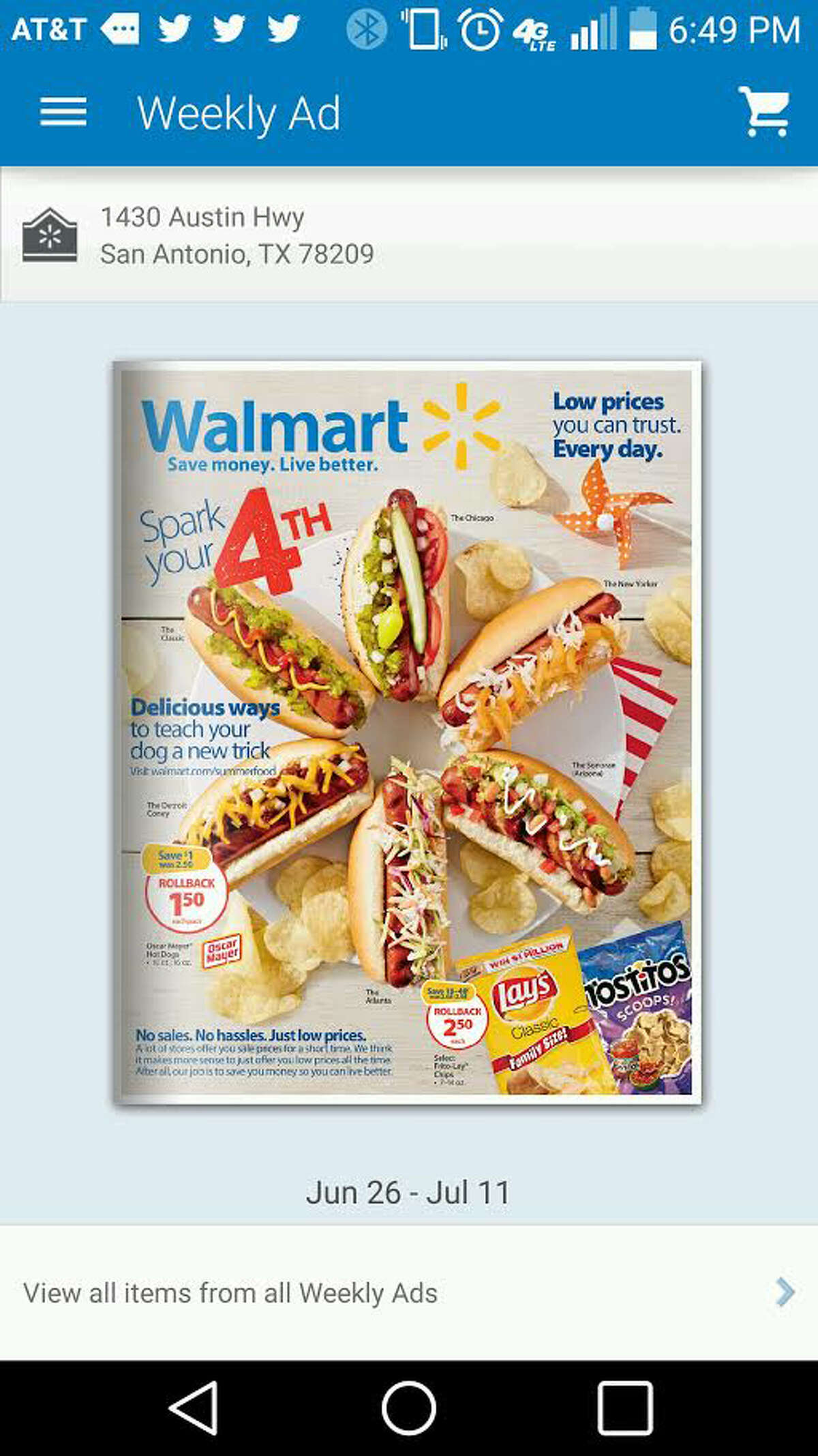 Walmart's smartphone app includes, among other things, weekly ads and a
