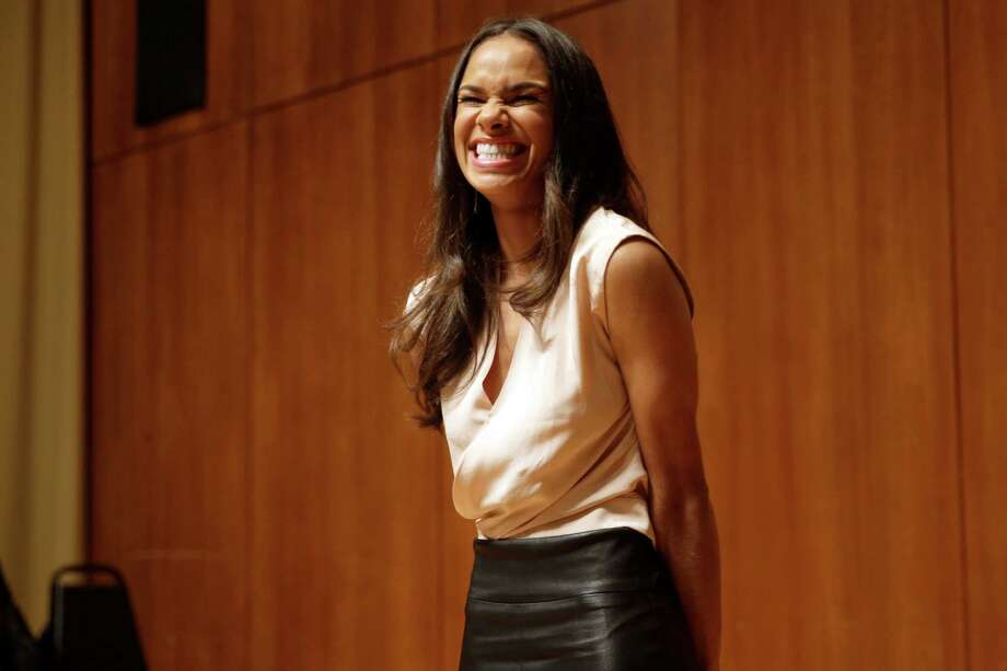 Misty Copeland speaks during a news conference, Tuesday, June 30, 2015, in New York. The Missouri-born dancer who has become a forceful voice for diversity in ballet and a rare celebrity in that field, was named principal dancer at American Ballet Theatre on Tuesday — the first African-American ballerina to achieve that status in the company's 75-year history. (AP Photo/Mary Altaffer) Photo: Mary Altaffer, STF / AP